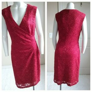Connected Apparel Faux Wrap Sequins Red Dress